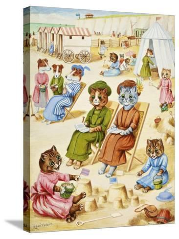 Holiday Time-Louis Wain-Stretched Canvas Print
