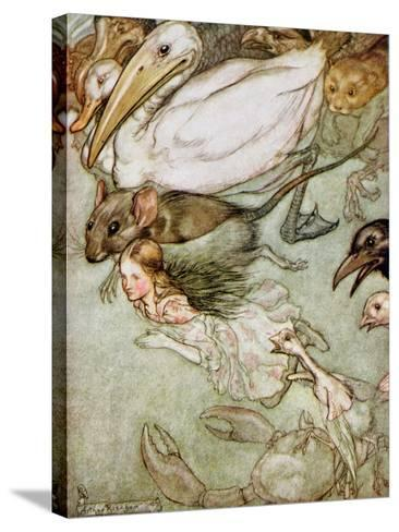 The Pool of Tears, from 'Alice's Adventures in Wonderland' by Lewis Carroll (1832-98) 1907-Arthur Rackham-Stretched Canvas Print