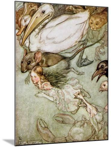 The Pool of Tears, from 'Alice's Adventures in Wonderland' by Lewis Carroll (1832-98) 1907-Arthur Rackham-Mounted Giclee Print
