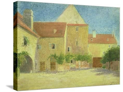 Courtyard of a Forge-Egon Schiele-Stretched Canvas Print