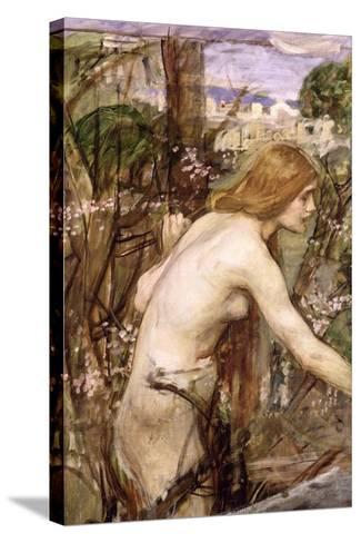 The Flower Picker-John William Waterhouse-Stretched Canvas Print
