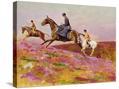 Lady Currie with Her Sons Bill and Hamish Hunting on Exmoor-Cecil Aldin-Stretched Canvas Print