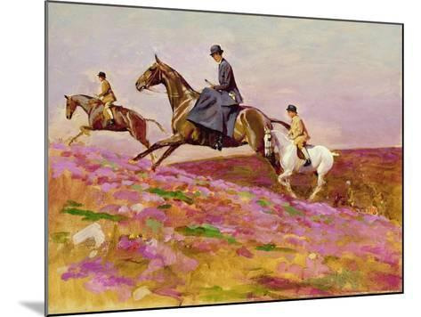 Lady Currie with Her Sons Bill and Hamish Hunting on Exmoor-Cecil Aldin-Mounted Giclee Print