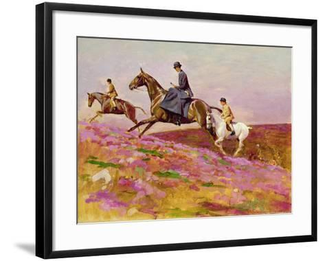 Lady Currie with Her Sons Bill and Hamish Hunting on Exmoor-Cecil Aldin-Framed Art Print