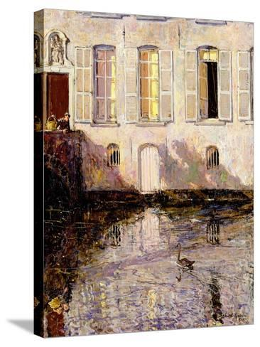 Feeding the Swans, Bruges, 1921-Alexander Jamieson-Stretched Canvas Print