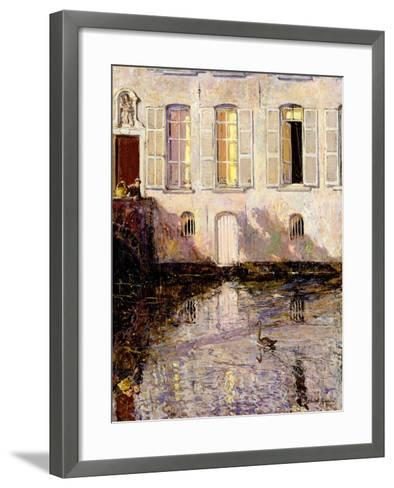 Feeding the Swans, Bruges, 1921-Alexander Jamieson-Framed Art Print