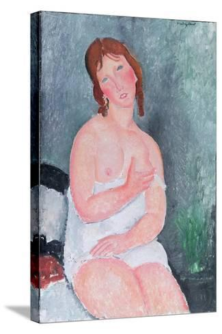 Young Woman in a Shirt, or the Little Milkmaid, 1917-18-Amedeo Modigliani-Stretched Canvas Print