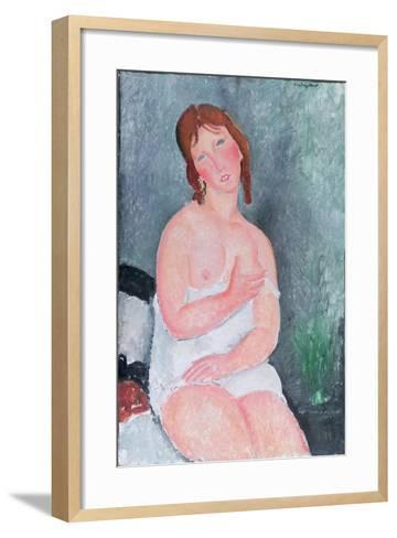 Young Woman in a Shirt, or the Little Milkmaid, 1917-18-Amedeo Modigliani-Framed Art Print