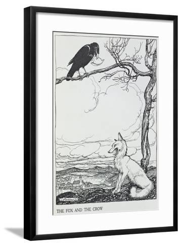 The Fox and the Crow, Illustration from 'Aesop's Fables', Published by Heinemann, 1912-Arthur Rackham-Framed Art Print