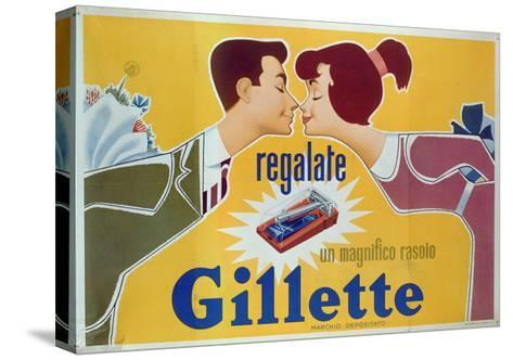 Poster Advertising Gillette Razors-Italian School-Stretched Canvas Print