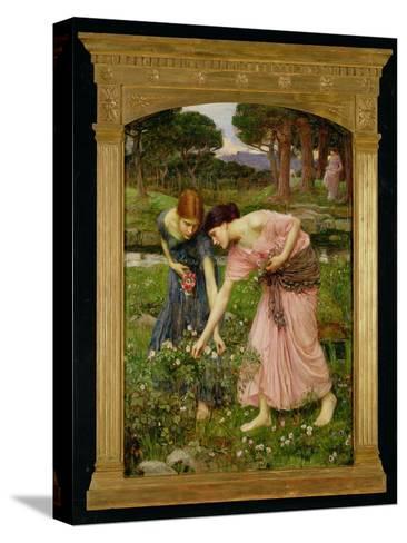 'Gather Ye Rosebuds While Ye May', 1909-John William Waterhouse-Stretched Canvas Print
