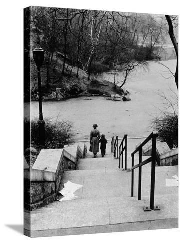 Central Park in Winter, c.1953-64-Nat Herz-Stretched Canvas Print