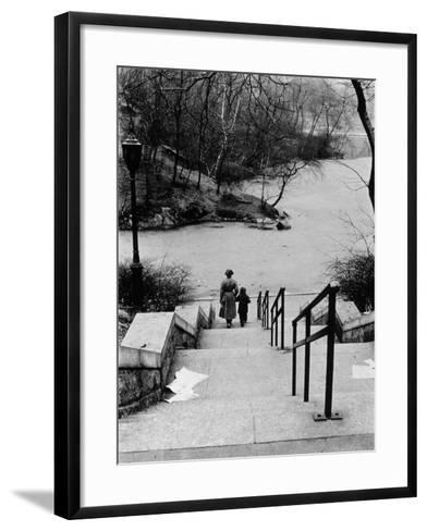 Central Park in Winter, c.1953-64-Nat Herz-Framed Art Print