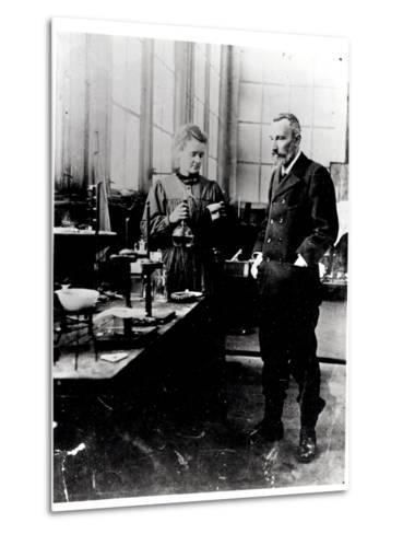 Pierre (1859-1906) and Marie Curie (1867-1934) in their Laboratory, c.1900-Valerian Gribayedoff-Metal Print