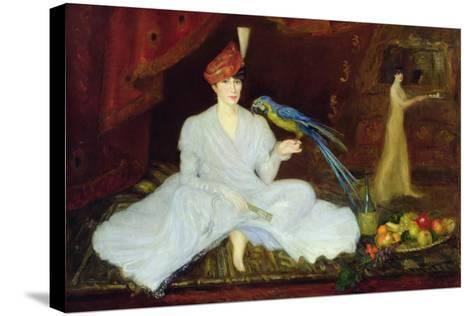 Woman with a Parrot, 1905-Georges Bottini-Stretched Canvas Print