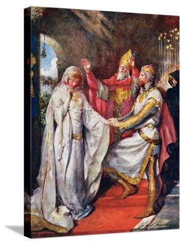 The Marriage of King Arthur and Queen Guinevere, Illustration for 'Children's Stories from…-John Henry Frederick Bacon-Stretched Canvas Print