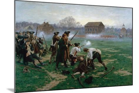 The Battle of Lexington, 19th April 1775, 1910-William Barnes Wollen-Mounted Giclee Print