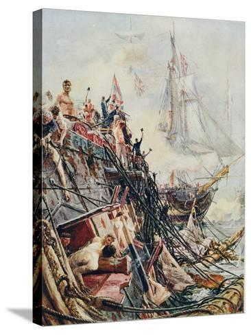 Crippled But Unconquered: The 'Belleisle' at the Battle of Trafalgar, 21st October 1805, from…-William Lionel Wyllie-Stretched Canvas Print