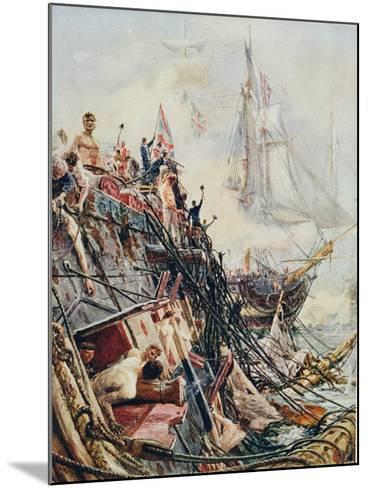 Crippled But Unconquered: The 'Belleisle' at the Battle of Trafalgar, 21st October 1805, from…-William Lionel Wyllie-Mounted Giclee Print