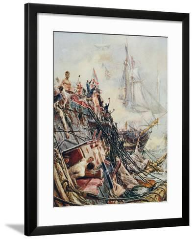 Crippled But Unconquered: The 'Belleisle' at the Battle of Trafalgar, 21st October 1805, from…-William Lionel Wyllie-Framed Art Print
