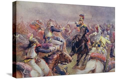 The Charge of the Heavy Brigade Against the French Cuirassiers at Waterloo, from 'British Battles…-Christopher Clark-Stretched Canvas Print