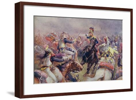 The Charge of the Heavy Brigade Against the French Cuirassiers at Waterloo, from 'British Battles…-Christopher Clark-Framed Art Print