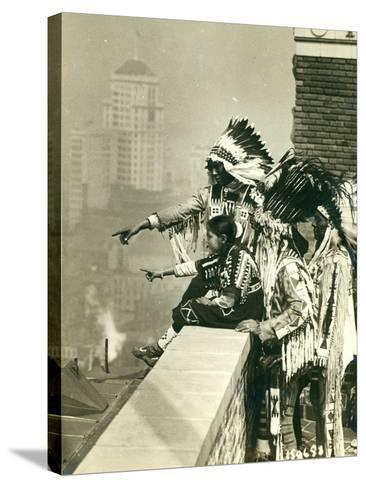 Blackfoot Indians on the Roof of the McAlpin Hotel, Refusing to Sleep in their Rooms, New York City-American Photographer-Stretched Canvas Print