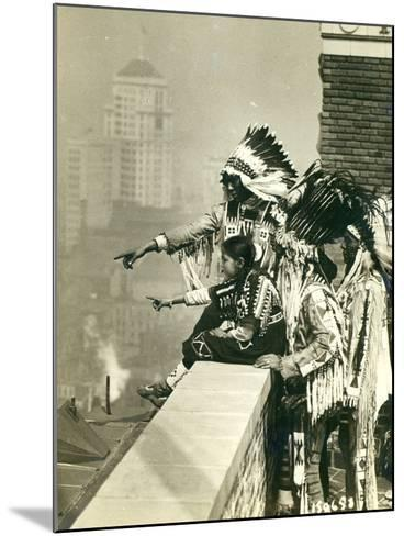 Blackfoot Indians on the Roof of the McAlpin Hotel, Refusing to Sleep in their Rooms, New York City-American Photographer-Mounted Photographic Print