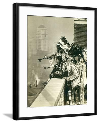 Blackfoot Indians on the Roof of the McAlpin Hotel, Refusing to Sleep in their Rooms, New York City-American Photographer-Framed Art Print
