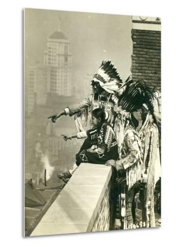 Blackfoot Indians on the Roof of the McAlpin Hotel, Refusing to Sleep in their Rooms, New York City-American Photographer-Metal Print