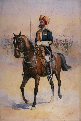 Soldier of the 14th Murray's Jat Lancers, Risaldar-Major, Illustration for 'Armies of India' by…-Alfred Crowdy Lovett-Stretched Canvas Print