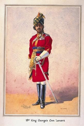 Honorary Lieutenant Hon Malik Umar Hayat Khan, Cie, Tiwana of Ahahpur (Punjabi Musalman)…-Alfred Crowdy Lovett-Stretched Canvas Print