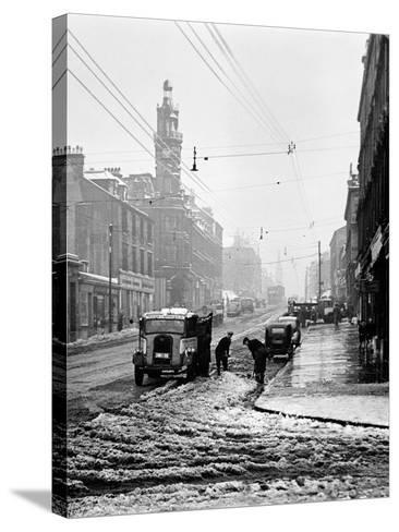 Winter Scene in Great Western Road, 1955--Stretched Canvas Print