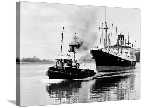 Steel and Bennie's Tug 'Brigadier' in Action, 1955--Stretched Canvas Print