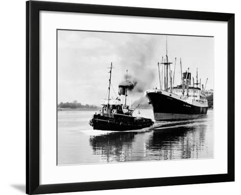 Steel and Bennie's Tug 'Brigadier' in Action, 1955--Framed Art Print