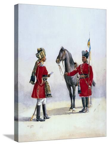 Alwar Lancers, Commandment and Chohan Rajput, Illustration for 'Armies of India' by Major G.F.…-Alfred Crowdy Lovett-Stretched Canvas Print