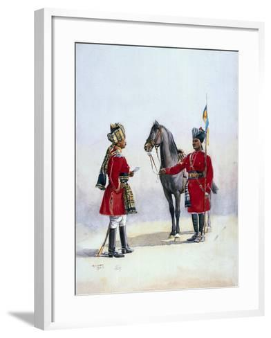 Alwar Lancers, Commandment and Chohan Rajput, Illustration for 'Armies of India' by Major G.F.…-Alfred Crowdy Lovett-Framed Art Print