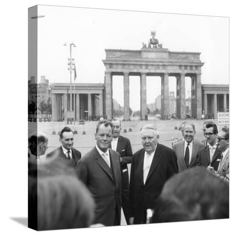 Ludwig Erhard and Willy Brandt, Mayor of West Berlin, Inspect the Sector Border at Brandenburg…-German School-Stretched Canvas Print