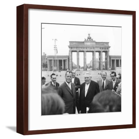 Ludwig Erhard and Willy Brandt, Mayor of West Berlin, Inspect the Sector Border at Brandenburg…-German School-Framed Art Print
