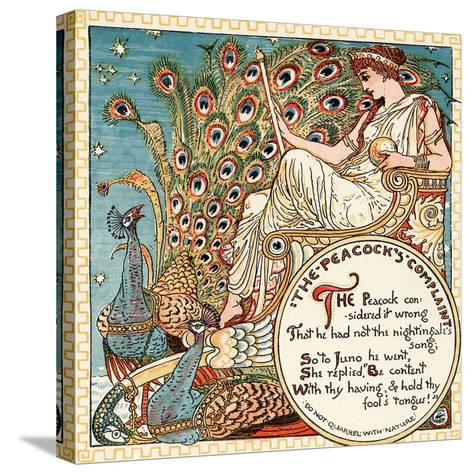 The Peacock's Complaint, Illustration from 'Baby's Own Aesop', Engraved and Printed by Edmund?-Walter Crane-Stretched Canvas Print