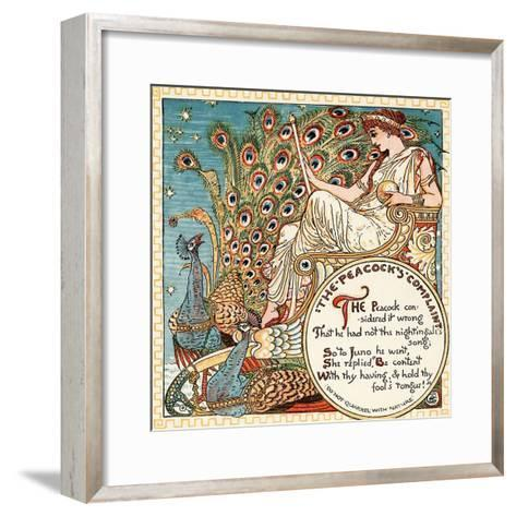 The Peacock's Complaint, Illustration from 'Baby's Own Aesop', Engraved and Printed by Edmund?-Walter Crane-Framed Art Print