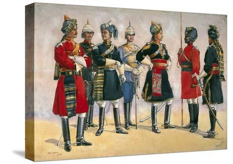 British Officers, Indian Army, Illustration for 'Armies of India', Published in 1911, 1910-Alfred Crowdy Lovett-Stretched Canvas Print