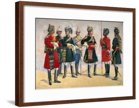 British Officers, Indian Army, Illustration for 'Armies of India', Published in 1911, 1910-Alfred Crowdy Lovett-Framed Art Print
