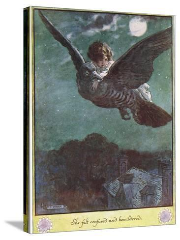 Flight on the Bird, Illustration from 'The Cuckoo Clock' by Mrs Molesworth,-Charles Edmund Brock-Stretched Canvas Print