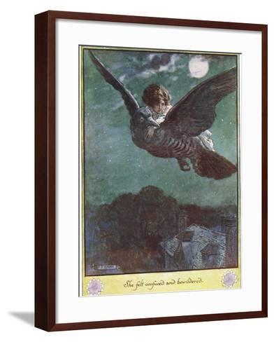 Flight on the Bird, Illustration from 'The Cuckoo Clock' by Mrs Molesworth,-Charles Edmund Brock-Framed Art Print