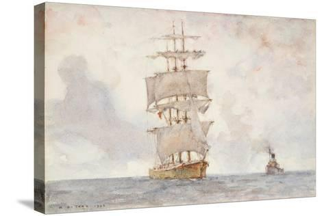 Barque and Tug, 1922-Henry Scott Tuke-Stretched Canvas Print