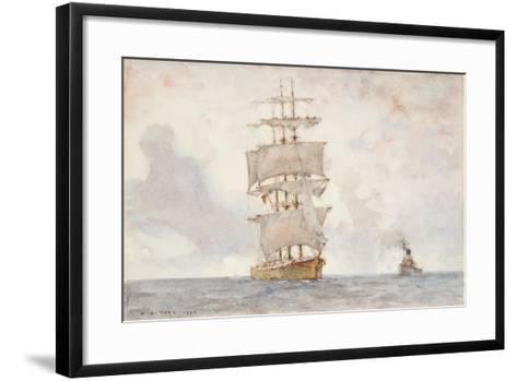 Barque and Tug, 1922-Henry Scott Tuke-Framed Art Print