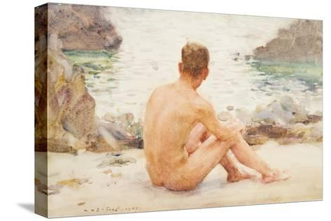 Charlie Seated on the Sand, 1907-Henry Scott Tuke-Stretched Canvas Print