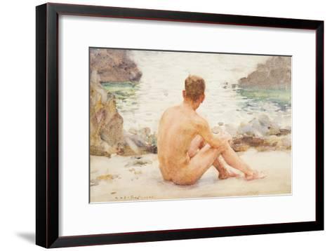 Charlie Seated on the Sand, 1907-Henry Scott Tuke-Framed Art Print