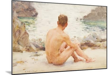 Charlie Seated on the Sand, 1907-Henry Scott Tuke-Mounted Giclee Print